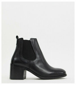 Depp wide fit leather heeled chelsea boots-Black