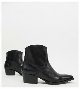 Depp wide fit leather western ankle boots-Black