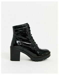 ALDO leather heeled lace up boots in black