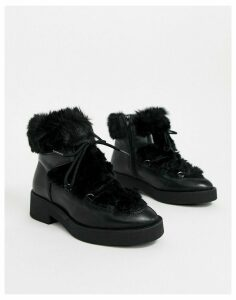 ALDO leather faux fur lined boots in black