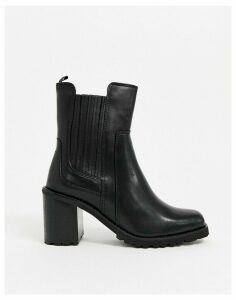 ALDO chunky leather chelsea boots in black