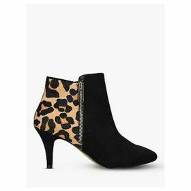 Carvela Sphinx Side Zip Shoe Boots, Black/Leopard Print