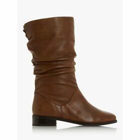 Dune Rosalinda Leather Calf Boots, Tan