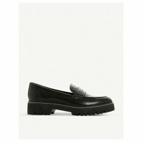 Gecho leather croc-effect loafers
