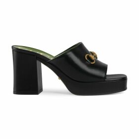 Mid-heel platform slide sandal