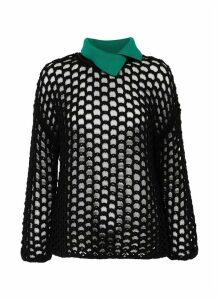 Contrast collar chunky mesh knit top