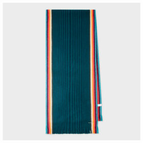 Women's Dark Green 'Artist Stripe' Band Merino Wool Scarf