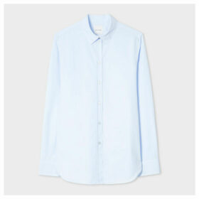 Women's Slim-Fit Light Blue Cotton Shirt With 'Artist Stripe' Print Cuff Lining