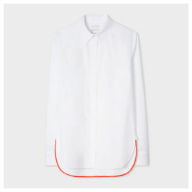 Women's White Shirt With 'Artist Stripe' Cuff Lining