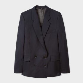 A Suit To Travel In - Women's Dark Navy Wool Double-Breasted Blazer