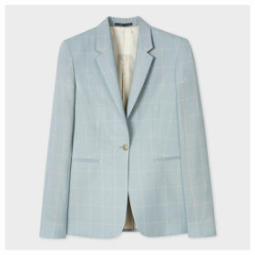 Women's Slim-Fit Powder Blue Windowpane Check Loro Piana Wool Blazer