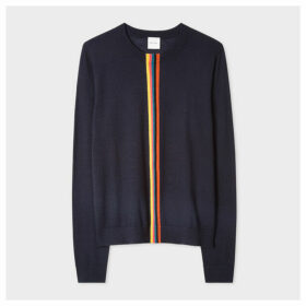 Women's Navy Merino Wool Sweater With 'Artist Stripe' Detail