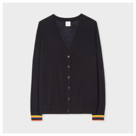 Women's Dark Navy Wool Cardigan With 'Artist Stripe' Cuffs