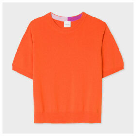 Women's Orange Short-Sleeve Cashmere Sweater