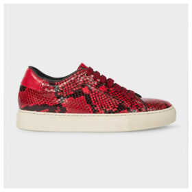 Women's Red Snake-Effect Leather 'Basso' Trainers
