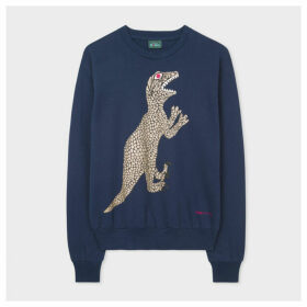 Women's Dark Navy Large Glitter 'Dino' Print Cotton Sweatshirt
