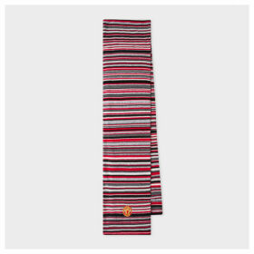 Paul Smith & Manchester United - Red Striped Wool-Cashmere Scarf