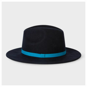 Women's Navy Wool Felt Fedora Hat With Blue Headband