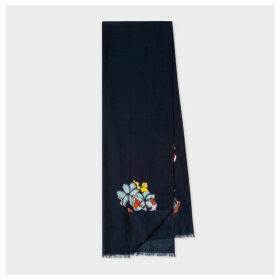 Women's Navy 'Artist Studio' Embroidered Wool Scarf