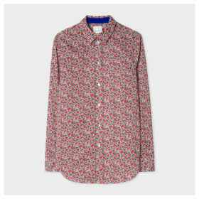 Women's Slim-Fit Red 'Floral' Print Cotton Shirt