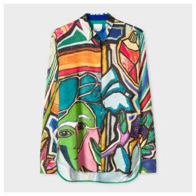 Women's 'Artist Studio' Print Satin Shirt