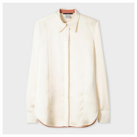 Women's Cream Satin Shirt With Contrast Details