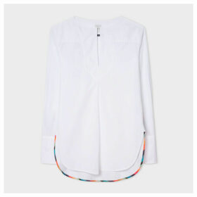 Women's White V-Neck Cotton Tunic Shirt