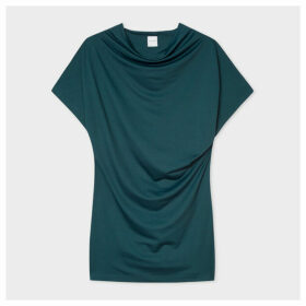 Women's Dark Green Cowl Neck Ruffle Top