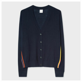 Women's Dark Navy Merino Wool Cardigan With 'Artist Stripe' Trims