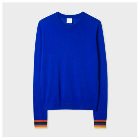 Women's Cobalt Blue Merino Wool Sweater With 'Artist Stripe' Cuffs