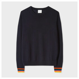 Women's Dark Navy Merino Wool Sweater With 'Artist Stripe' Cuffs