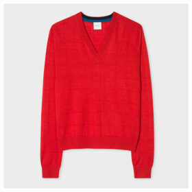 Women's Red V-Neck Wool-Silk Sweater With Openwork Details