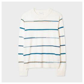 Women's Cream Wool And Silk Striped Sweater