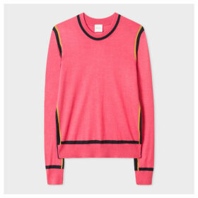 Women's Pink Wool And Silk Sweater With Dark Navy Trims