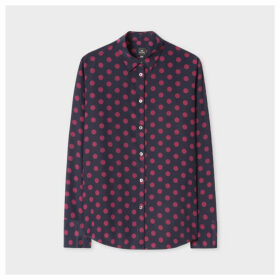 Women's Navy Shirt With Large Polka Dots