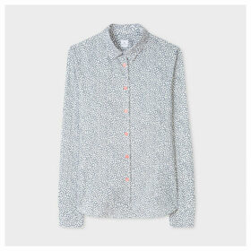 Women's Slim-Fit White 'Pollen Ditsy' Print Shirt
