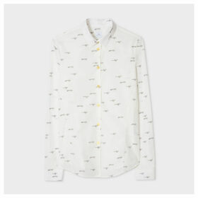 Women's Slim-Fit White 'Mini Cheetah' Print Cotton Shirt