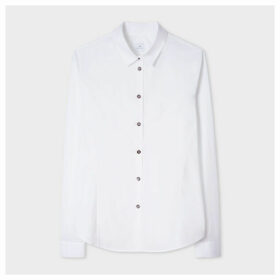Women's White Slim-Fit Stretch-Cotton Shirt With Pearlescent Buttons And 'Cheetah' Cuff Lining
