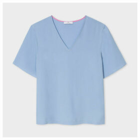 Women's Light Blue V-Neck Silk-Blend T-Shirt