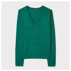Women's Green V-Neck Wool Sweater With Contrasting Cuff Lining