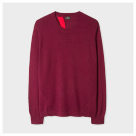 Women's Burgundy Open Back Wool-Blend Sweater