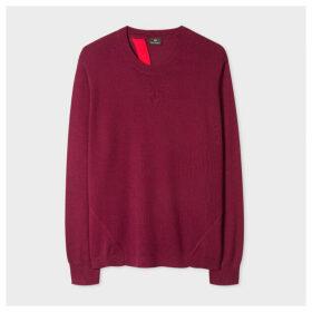 Women's Burgundy Open Back Wool-Blend Sweater