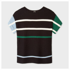 Women's Black Stripe Wool And Cotton-Blend Short-Sleeve Sweater