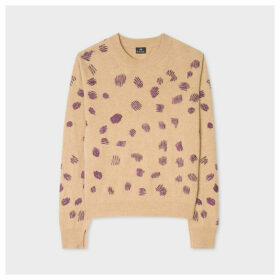 Women's Tan Embroidered 'Cheetah' Motif Wool-Blend Sweater