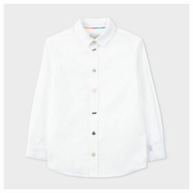 Paul Smith For Men In Black: International - 8+ Years White Cotton Shirt With Charm Buttons