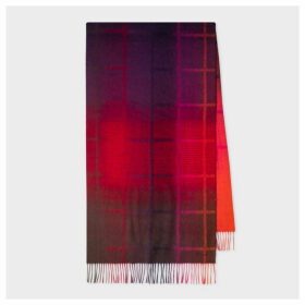 Women's Red Ombré Check Pattern Wool Scarf