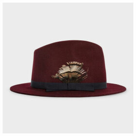 Women's Burgundy Wool Felt Fedora Hat With Feather Headband Detail