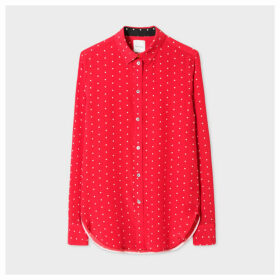 Women's Slim-Fit Red Polka Dot Silk Shirt