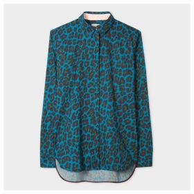 Women's Petrol Blue 'Leopard' Print Shirt