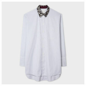 Women's White Thin Stripe Oversized Shirt With 'Leopard' Collar